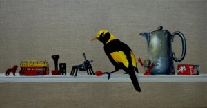 'It's a good conversation starter'- Regent Bower Bird 40 x 76 cm oil on clear primed linen